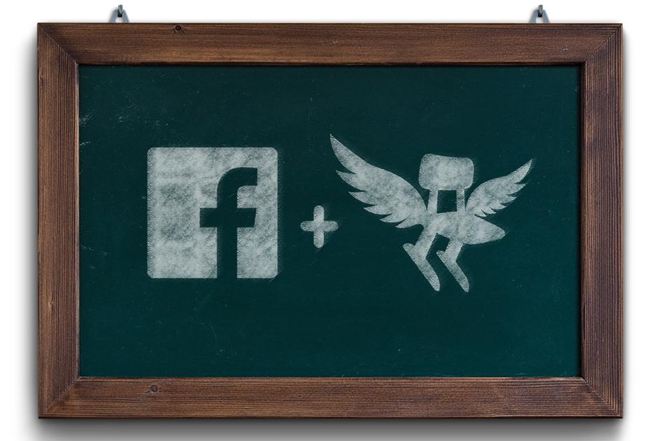 Auf einer Tafel sind das Logo von Facebook und es Deutschen Schulportals abgebildet