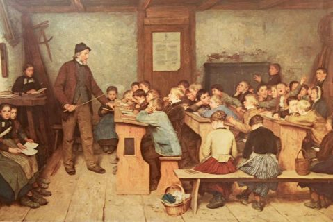 Ein Gemälde einer Unterrichtssituation vor etwa 100 Jahren