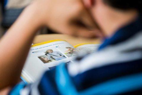Ein Schüler sieht in ein Lehrbuch