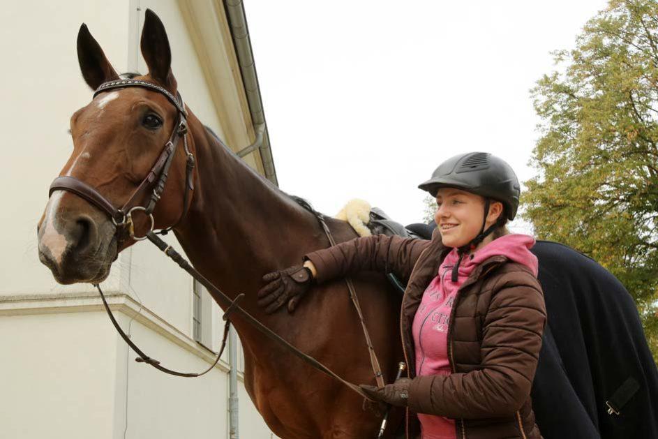 ein Mädchen tätschelt ihrem Pferd den Hals