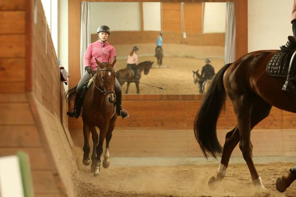 ein Mädchen reitet in einer Reithalle vor einem großen Spiegel auf einem Pferd