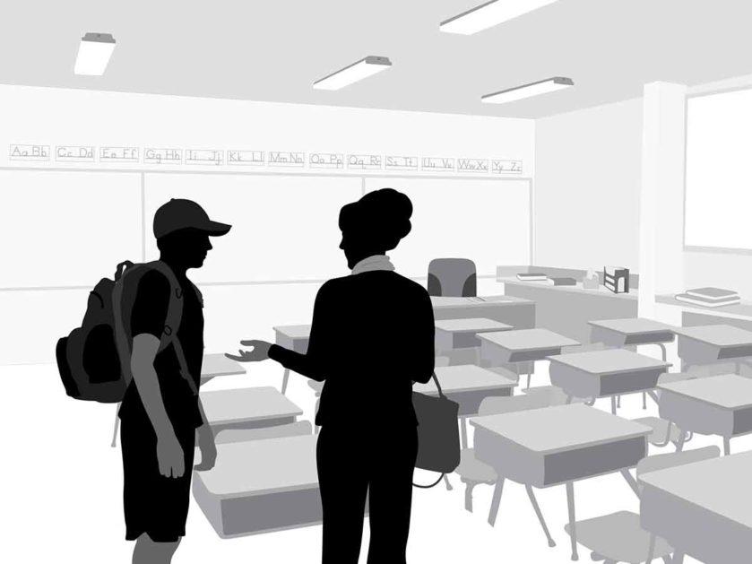 Eine Schatten-Silhouette zeigt eine Lehrerin mit einem Schüler im Gespräch.