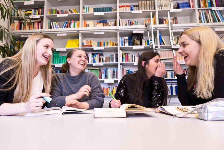 Schülerinnen arbeiten in der Bibliothek