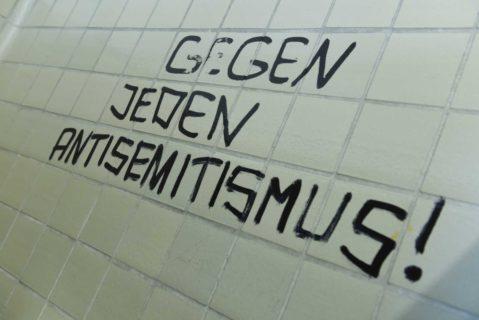 Widerstand gegen Rassismus: Der Spruch «Gegen jeden Antisemitismus!» prangt an einer Toilettenwand der Philipps-Universität.