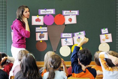 Lehrerin unterrichtet Englisch