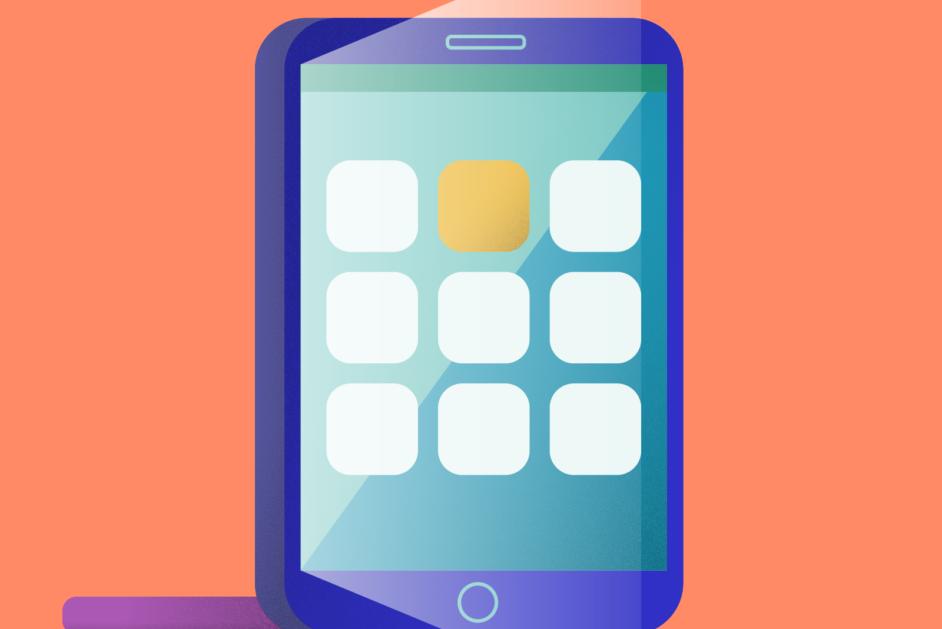 Schülerinnen und Schüler arbeiten mit einer App auf Tablets im Unterricht.