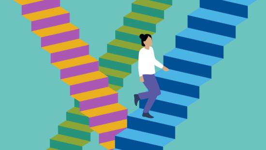 Reform der Oberstufe Mensch auf Treppe