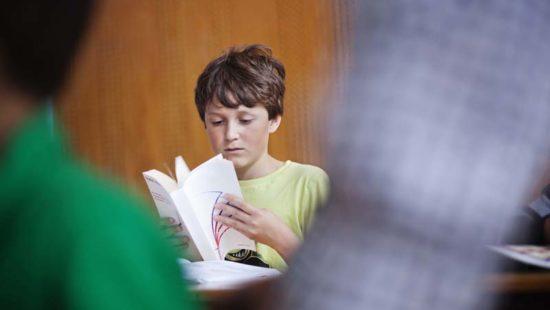 Ein Schüler blättert in einem Buch